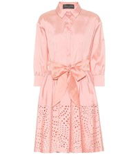 Monique Lhuillier Broderie Anglaise Satin Shirt Dress Pink