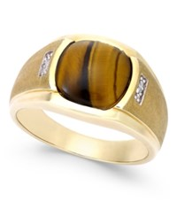 Macy's Men's Tiger Eye 10Mm And Diamond Accent Ring In 10K Gold Brown