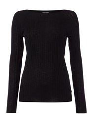 Ellen Tracy Ribbed Boat Neck Jumper Black