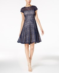 Sangria Petite Sequined Lace Fit And Flare Dress Navy
