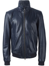 Mauro Grifoni Zipped Leather Jacket Blue
