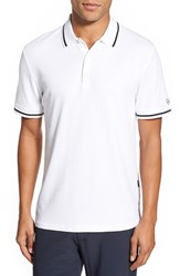 Ag Jeans Men's Ag 'University' Trim Fit Stripe Tipped Jersey Polo Bright White