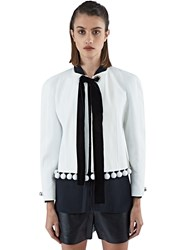 Proenza Schouler Cropped Floral Jacquard Jacket White