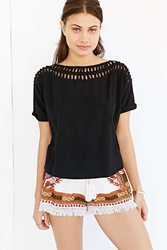 Staring At Stars Crochet Knot Tee Black