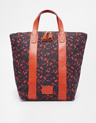 Jack Wills Floral Printed Shopper With Leather Trim Multi