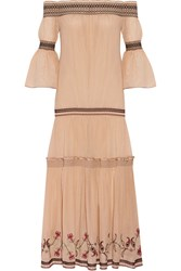 Rachel Zoe Cassidee Off The Shoulder Embroidered Silk Chiffon Dress Blush