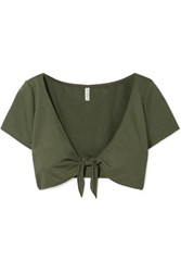 Solid And Striped Cropped Tie Front Stretch Ponte Top Army Green