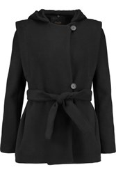 Maje Wool And Cashmere Blend Hooded Coat Black