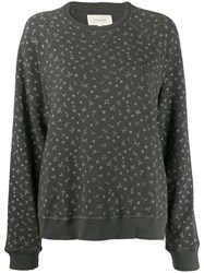 The Great Great. Floral Print Sweatshirt Grey