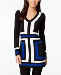 Inc International Concepts V Neck Colorblocked Tunic Sweater Only At Macy's