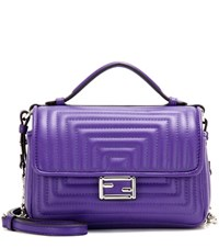 Fendi Double Micro Baguette Leather Shoulder Bag Purple