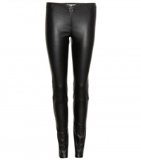 Alice Olivia Front Zip Leather Leggings Black