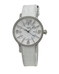 N.O.A. Watches Alligator Strap Diamond Dial Watch White