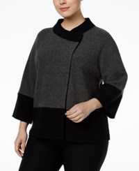 Jm Collection Plus Size Colorblocked Wool Sweater Only At Macy's Charcoal Heather