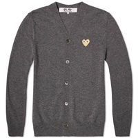 Comme Des Garcons Play Gold Heart Cardigan Grey