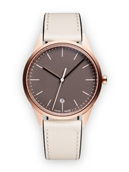 Uniform Wares C36 Women's Date Watch In Pvd Rose Gold With Mist Textured Calf