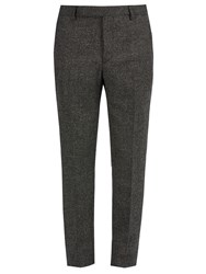 Saint Laurent Slim Leg Checked Wool Trousers Grey