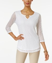 Jm Collection Crochet Lace Keyhole Top Only At Macy's Bright White