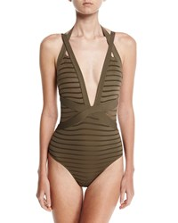 Jets By Jessika Allen Parallels Crisscross Halter One Piece Swimsuit Gray