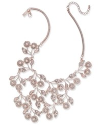 Inc International Concepts Rose Gold Tone Pearl And Crystal Statement Necklace 16 3 Extender Created For Macy's
