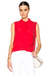 Frame Denim Sleeveless Wrap Tie Top In Red