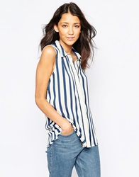 Vila Sleeveless Long Line Shirt With Placket Bluewhitestripe