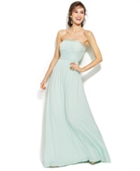 Calvin Klein Strapless Embellished Pleated Gown Mint
