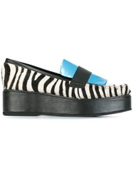 House Of Holland Panelled Flatform Zebra Print Loafers Black