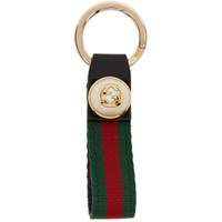 Gucci Green And Red Gg Web Keychain