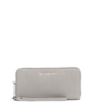 Michael Kors Jet Set Travel Large Saffiano Leather Phone Wristlet Pearl Grey