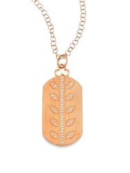 Devon Woodhill Vine Diamond And 18K Rose Gold Modern Dog Tag Locket