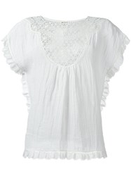 Masscob Embroidered Panel Blouse White