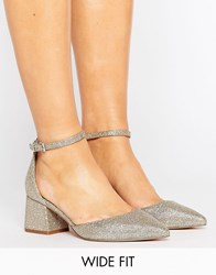 Asos Starling Wide Fit Bridal Pointed Heels Gold