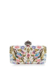 Alexander Mcqueen Heart Clasp Floral Embelished Satin Box Clutch White Multi