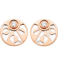 Bulgari Intarsio 18Ct Pink Gold Stud Earrings With Mother Of Pearl And Diamonds
