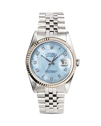 Pre Owned Rolex Stainless Steel And 18K White Gold Datejust Watch With Fluted Bezel And Blue Mother Of Pearl Dial 36Mm Blue Silver