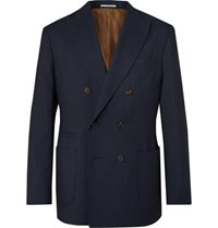 Brunello Cucinelli Navy Double Breasted Pinstriped Wool Linen And Silk Blend Suit Jacket Navy