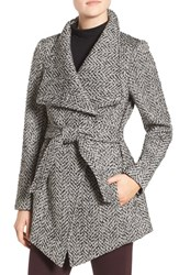 Jessica Simpson Women's Belted Tweed Coat Black White Tweed