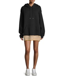 Public School Zita Hoodie Striped Hem Sweatshirt Dress Black