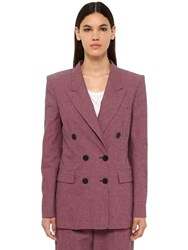 Etoile Isabel Marant Linya Double Breasted Canvas Jacket Dark Pink