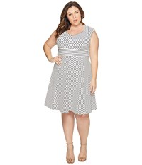 Adrianna Papell Plus Size Cap Sleeve Stripe Fit And Flare White Blue Moon Women's Dress Multi