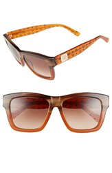 Women's Mcm 56Mm Retro Sunglasses Striped Brown Cognac