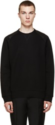 Lanvin Black Leather Panelled Sweatshirt