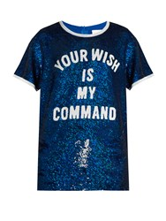 Ashish Sequin Embellished Silk Georgette Top Blue White