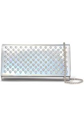 Christian Louboutin Boudoir Spiked Iridescent Leather Shoulder Bag Silver