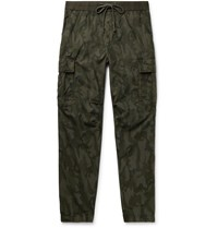 James Perse Tapered Camouflage Print Cotton Ripstop Cargo Trousers Green