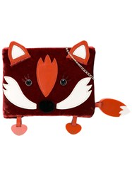 Charlotte Olympia Badger Pouch Women Calf Leather Velvet Methyl Methacrylate Cross Polymer One Size Red