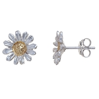 Martick Sterling Silver Daisy Stud Earrings Silver Gold