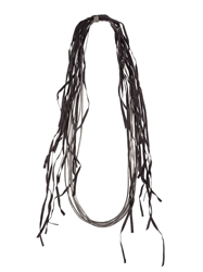 Goti Leather Fringed Necklace Black