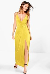 Boohoo Draped Wrap Thigh Split Maxi Dress Chartreuse